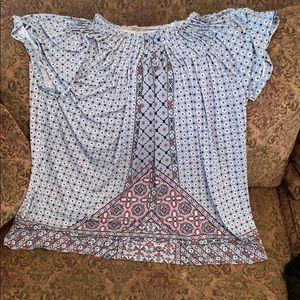 Pleated short sleeve blouse